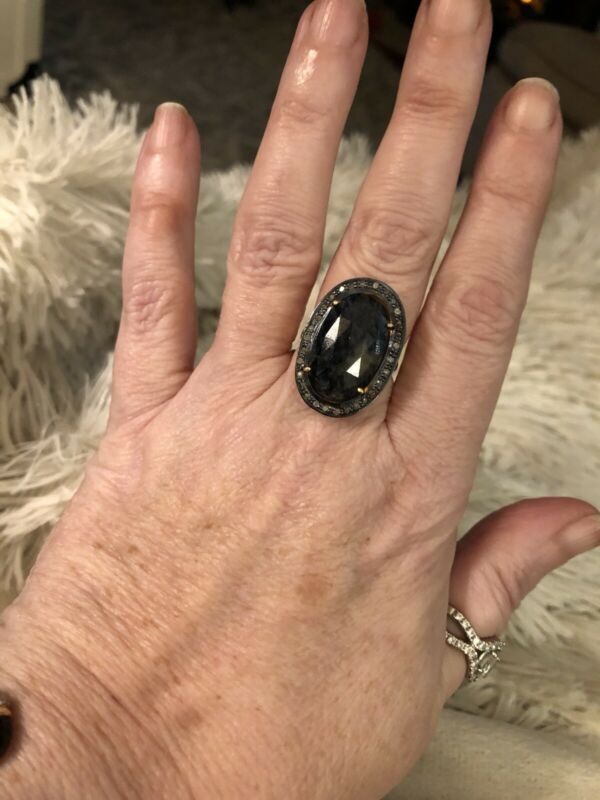 Huge Rose Cut Real Sapphire & Diamond Statement Ring Size 7 US Seller