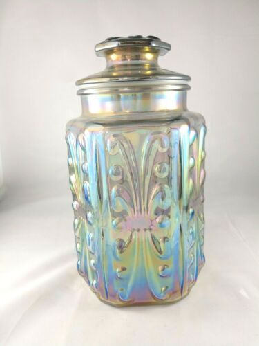 """le smith atterbury iridescent scroll canister 9"""" x 5"""""""