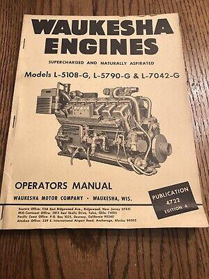 Waukesha Engines Models L-5108-g L-5790-g L-7042-g Operators Manual
