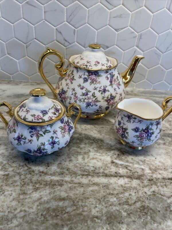 Royal Albert 100 Years, English Chintz: Teapot, Creamer & Sugar