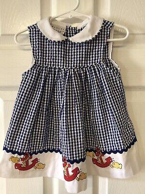 Samara Infant Girls Size 24 Months Cotton Sleeveless Blue & White Dress