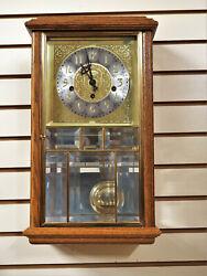 NEW ANSONIA KEY WOUND GOLDEN OAK TRIPLE CHIME 8 DAY WALL CLOCK
