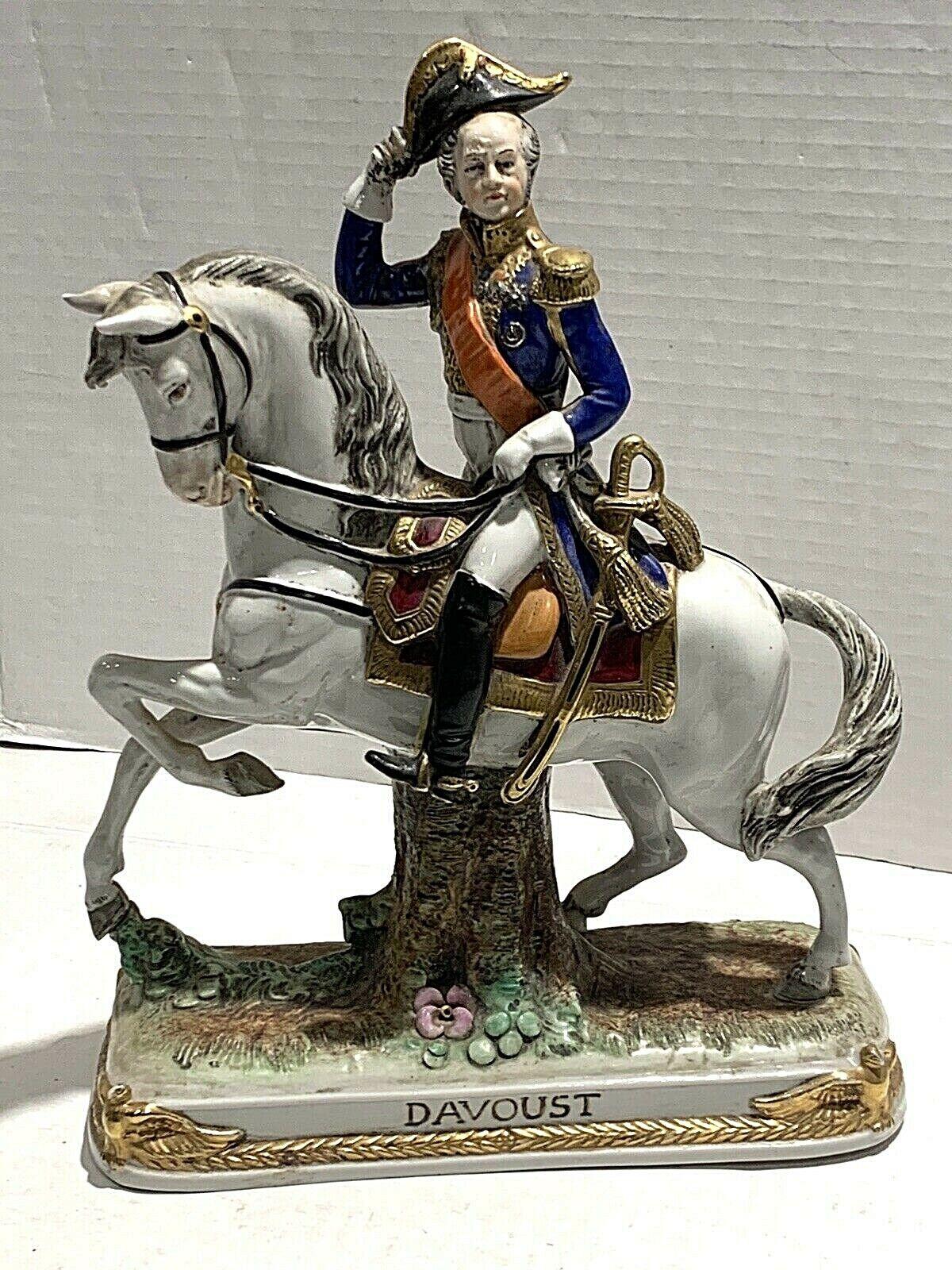 ANTIQUE GERMAN PORCELAIN FIGURINE OF DAVOUST ON A HORSE - $150.00