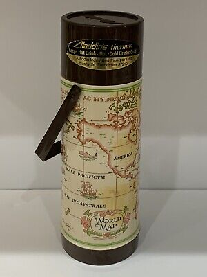 Aladdin Retro Vintage World Map 1 Quart Glass Lined Plastic Thermos