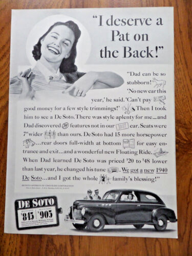 1940 DeSoto DeLuxe Coupe Ad Deserve a Pat on the Back
