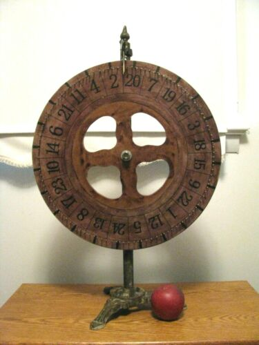 """SMALL CARNIVAL GAME WHEEL on CAST IRON STAND 17 1/2"""" Diameter 28"""" Tall"""
