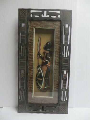 African American Warrior Shadow Box Display Collectible