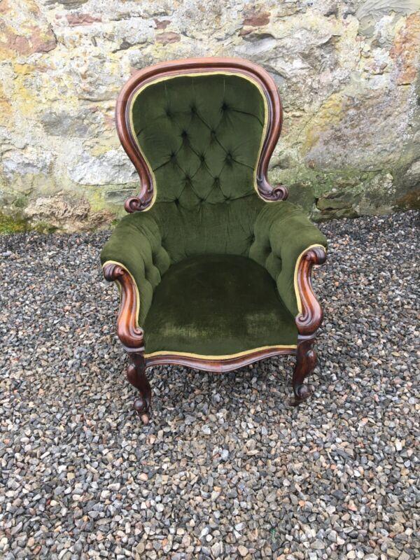 Victorian Mahogany Framed Armchair