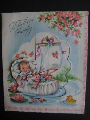 UNUSED 1940s vintage greeting card Baby Pop-Up Sweet Baby in Crib Boat Ducklings