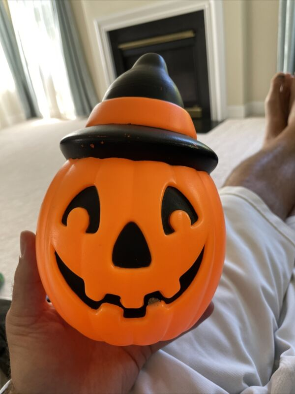 "Vtg 1995 Halloween 8"" Empire Plastic Blow Mold PUMPKIN JOL w/ WITCH HAT"