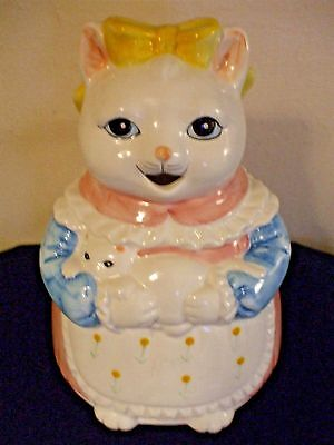 ADORABLE VINTAGE CERAMIC - PORCELAIN  MAMA CAT AND KITTEN PITCHER