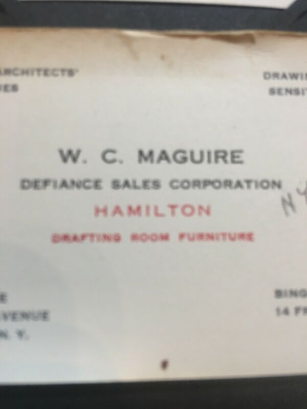 Antique VTG Business Card Engineer Architecture Supplies WC Maguire NYC