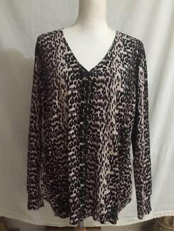 Leopard Print Cardigan  L / XL ( 16 - 18 ) Hardly Worn