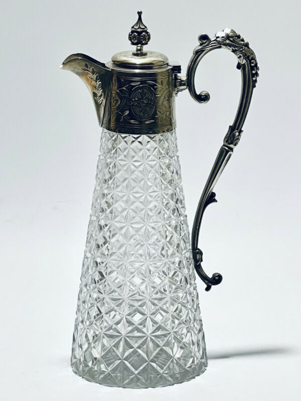 Magnificent Antique Mid 18 Century Crystal & Silver Plated Wine Carafe