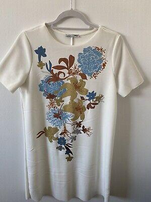 Zara W/B Collection T-shirt Dress Floral print Size M Color White