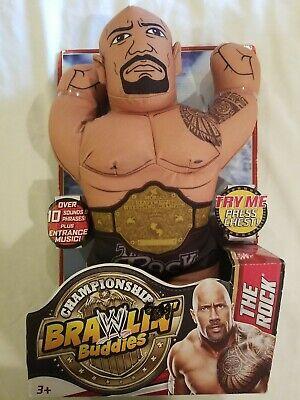 2013 WWE Brawlin Buddies The Rock Championship Plush Toy Wrestling RARE HTF NEW