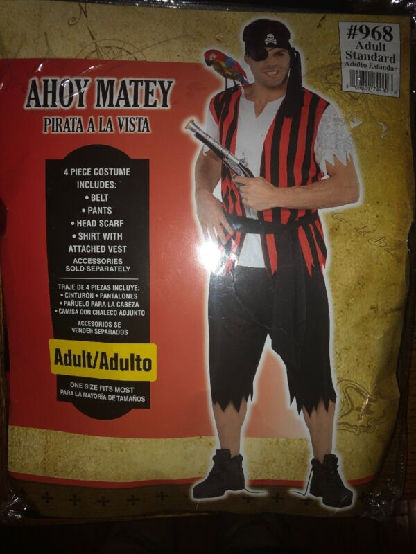 Ahoy Matey Pirate Adult Standard Size (fits most) Costume - NWT
