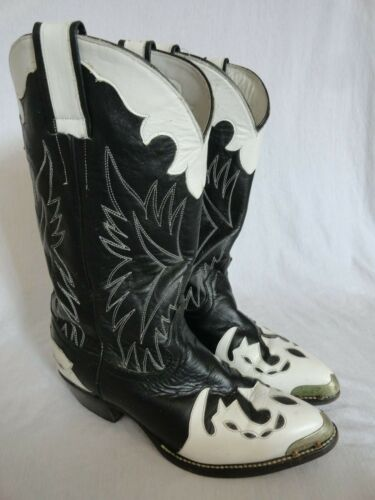 VINTAGE TWO TONE BLACK & WHITE CUSTOM LEATHER WESTERN COWBOY BOOTS