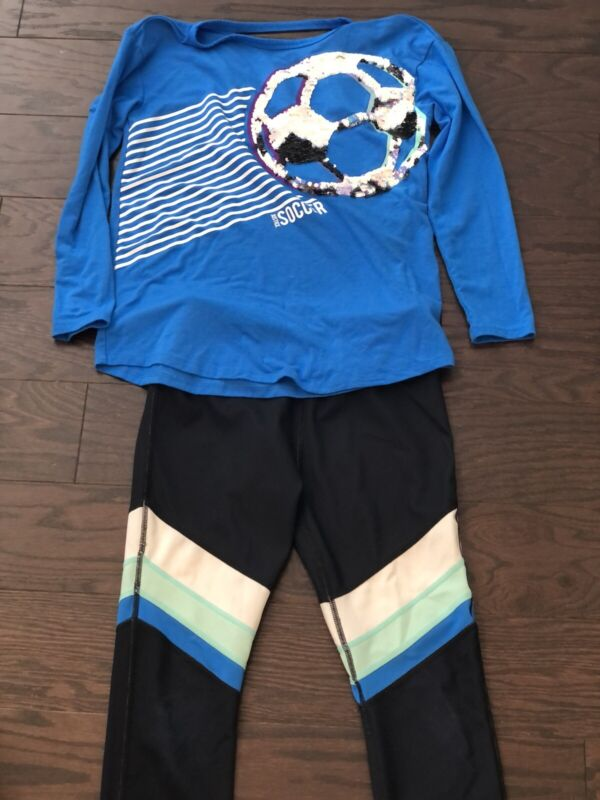 Justice Active Soccer Shirt And Leggings Set Girls Size 10
