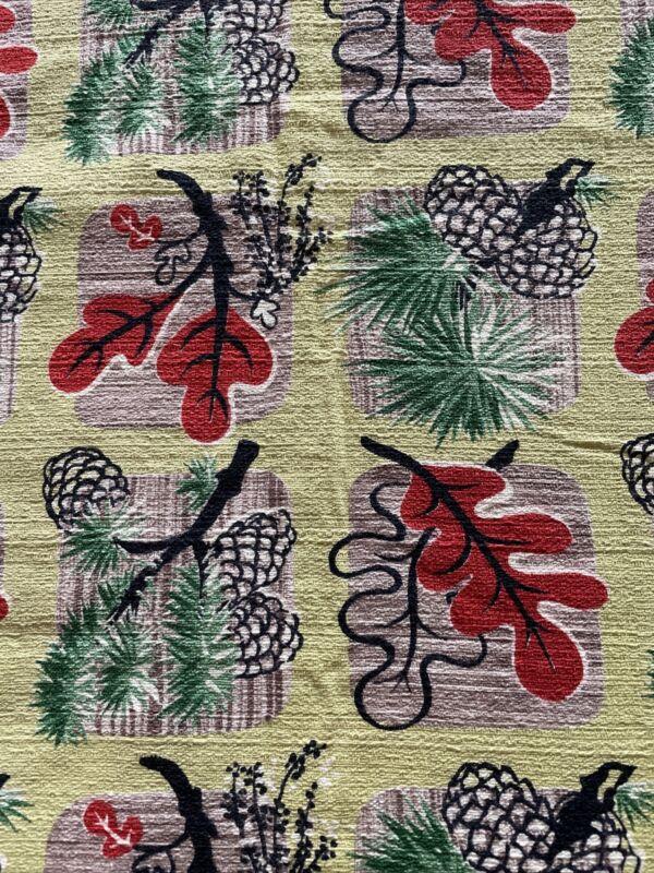 "Vintage bark cloth 33.5 W X 178"" *green red"