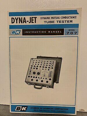 Original Bk Precision 707 Dynamic Mutual Tube Tester Instruction Manual Rare