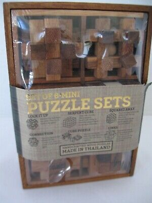 SIAM MANDALAY Mini Wooden Puzzle Set of 6 with Storage Box