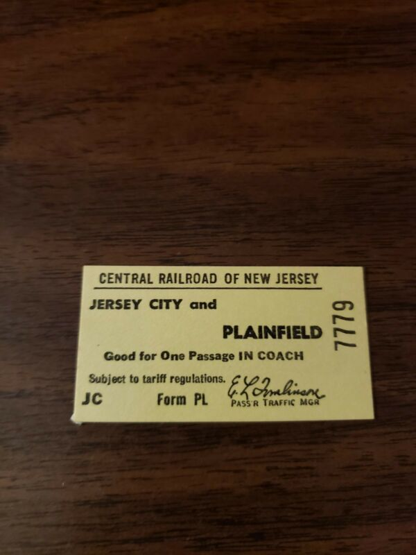CNJ CENTRAL RAILROAD OF NEW JERSEY JERSEY CITY TO PLAINFIELD, NJ TICKET