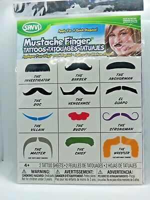 Finger Mustache Tattoo 2 sheets 12 Assorted Mousetaches SAVVI - Finger Mustache Tattoo