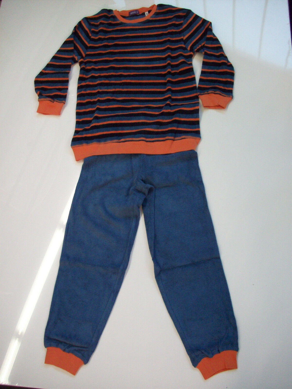Living Crafts Kinder-Frottee-Schlafanzug Beaver in Blau/Dunkelblau/Orange