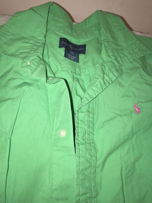 Ralph Lauren Boys Classic Green Short Sleeve Button-down Shirt Sz 7
