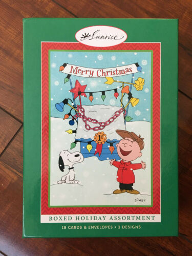 """"""" PEANUTS SNOOPY & CHARLIE BROWN """" 18 CARDS AND ENVELOPES BRAND NEW IN BOX"""