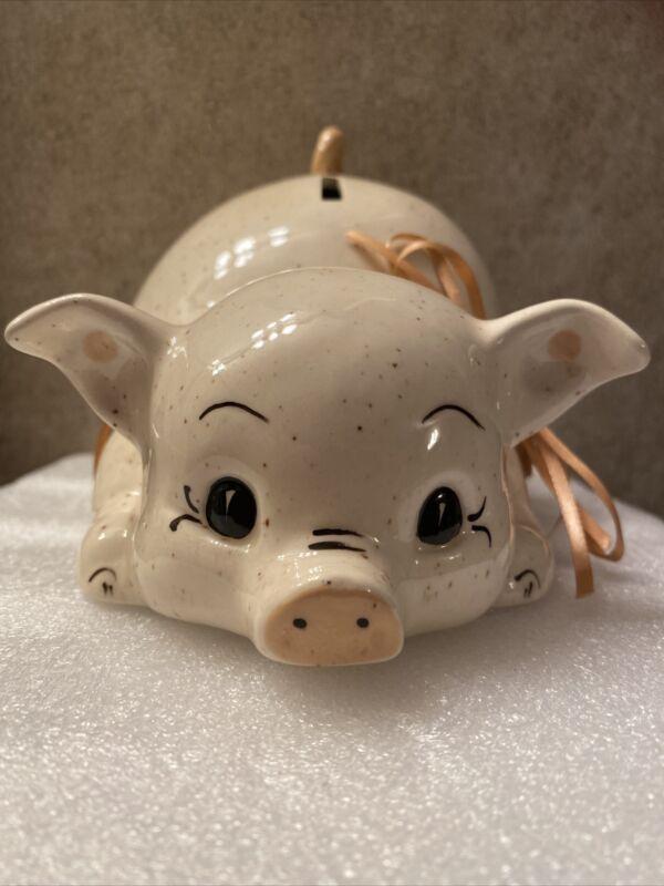 Vintage Ceramic/ Handpainted White Piggy Coin Bank