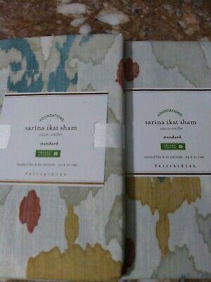 Pottery Barn Set: 2 Sarina Ikat Pillow Shams, Standard Size, 100% Organic Cotton