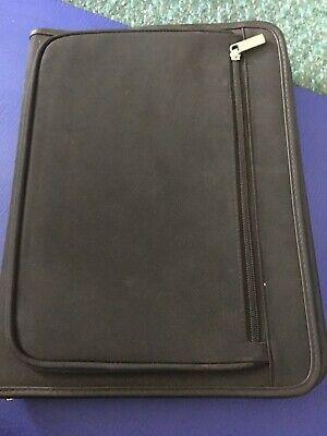 New Large Black Zippered Portfolio Notepad Organizer With Pockets