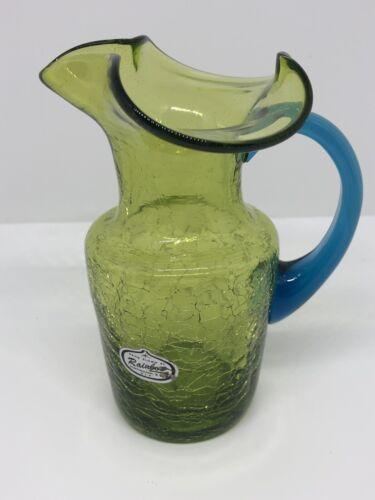 Handblown Rainbow Art Glass Green Pitcher Blue Handle Crackled 1960 s - $14.00