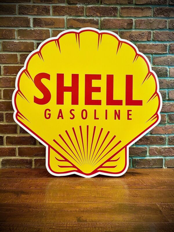 "Shell Gasoline Motor Oil Sign HEAVY GUAGE Aluminum  High Quality 34"" X 34"""