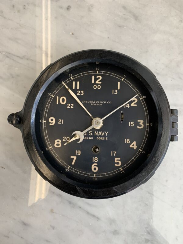 Vintage WWII Chelsea Clock Co US Navy Ship Clock