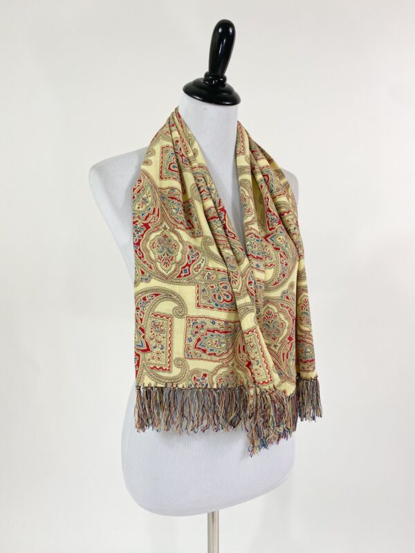 Best! VTG 1940s Rayon Paisley Print Fringed Ascot Scarf