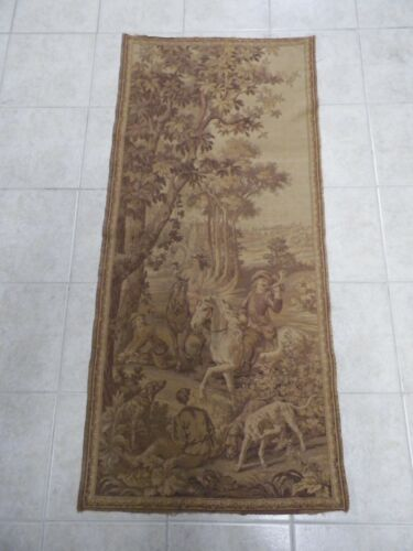 Antique French Embroidered Hunting Tapestry Dogs Horses 1800