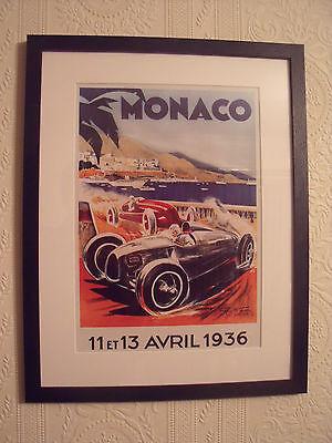 MONACO GRAND PRIX APRIL 1936 FRAMED PRINT 14.5 X 18.5 INCHES