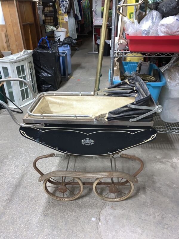 Vintage Antique Crown Baby Doll Stroller Carriage Blue Buggy Buggie Coronet Toy