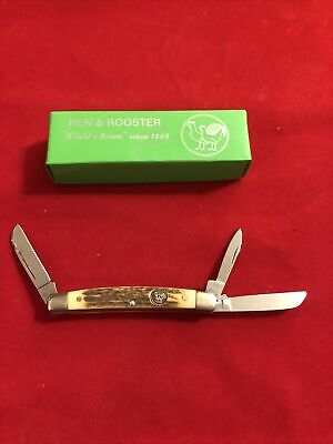 Hen & Rooster Congress Pocket Knife Carbon Steel Blade Deer Stag Handle 3648-DS
