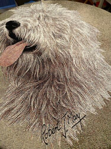 Old English Sheepdog 2 Lap Square Blanket by Robert May Tapestry Throw NWOT