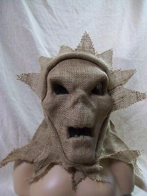 Creepy Burlap Scarecrow Mask Hood Ghoul Ghost Face Haunted Corn Field Creature - Ghost Face Scarecrow