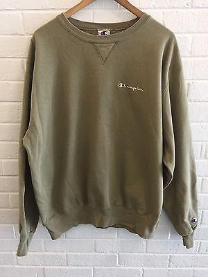 Vintage 90s Champion Spell Out Script Sweatshirt Men's SZ XL Olive Green Army