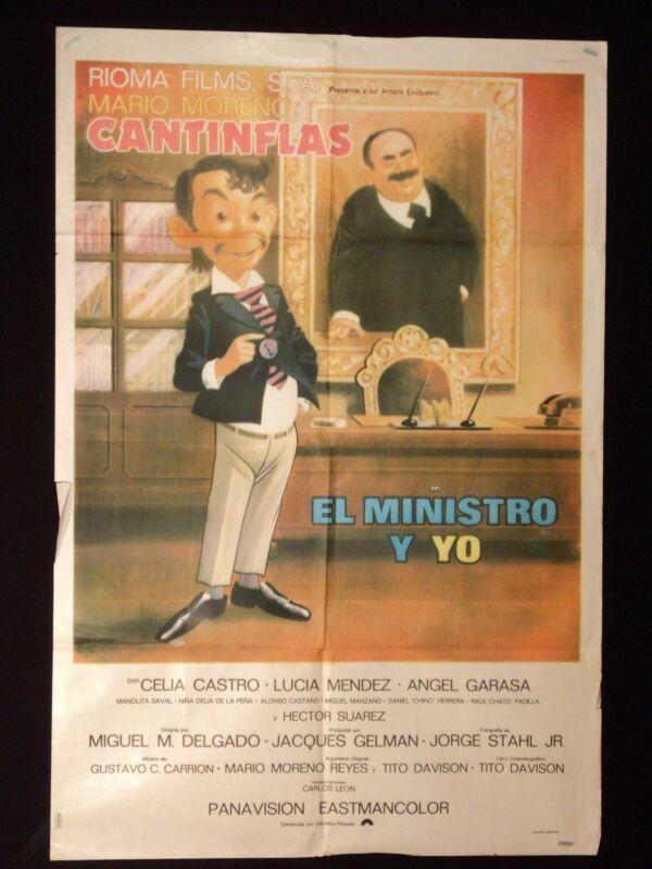 EL MINISTRO Y YO * CANTINFLAS * CHELA CASTRO * ARGENTINE 1sh MOVIE POSTER 1976