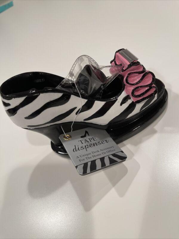 High Heel Shoe Tape Dispenser Scotch Desktop Zebra Animal Print