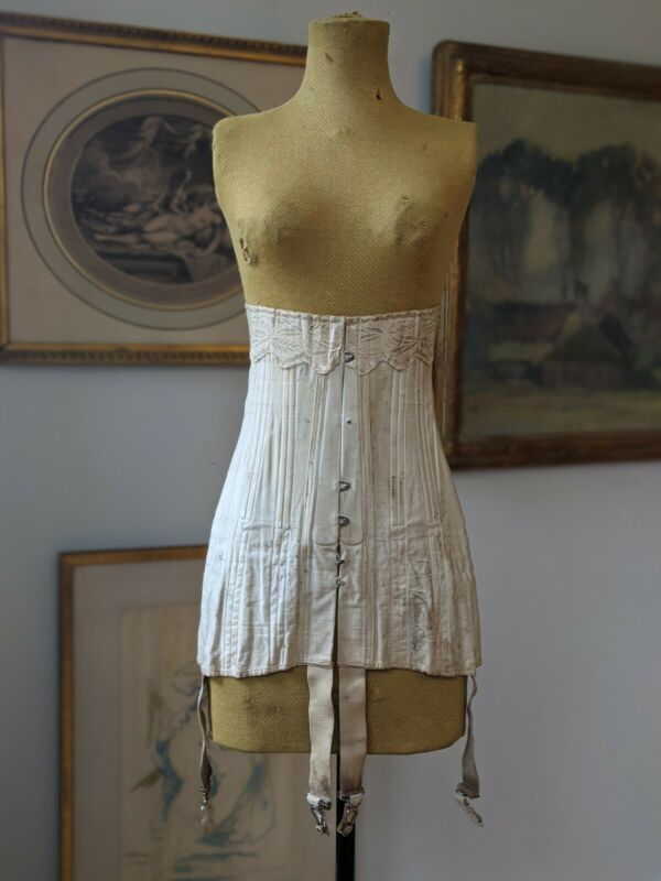 Antique Corset Edwardian Era Dress 1900 1915 Ivory Silk Brocade Trim