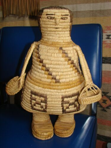Large Papago Basket Doll, Lots of Design, Unique
