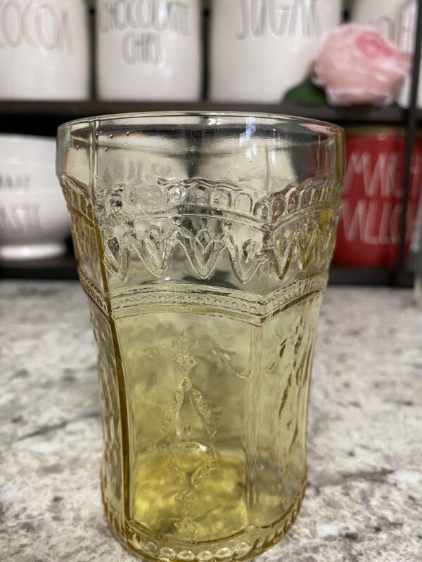 "Federal Glass Company Patrician Spoke Amber 4.25"" Flat Tumbler"